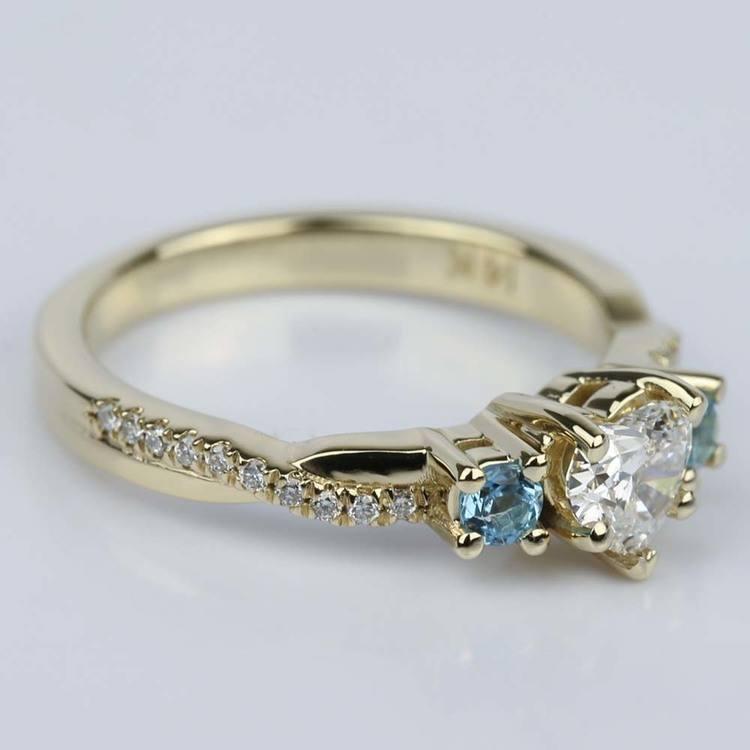 Heart Diamond & Topaz Gem Custom Engagement Ring angle 3
