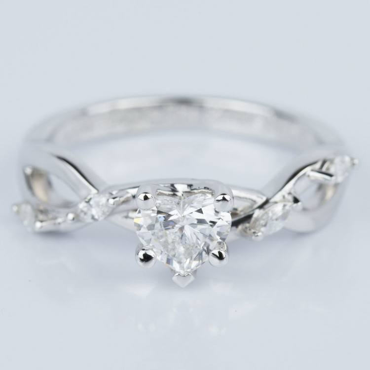 Heart Shape Florida Ivy Engagement Ring in White Gold (0.46 ct.)