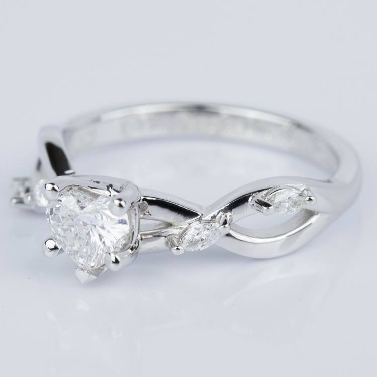 Heart Shape Florida Ivy Engagement Ring in White Gold (0.46 ct.) angle 2