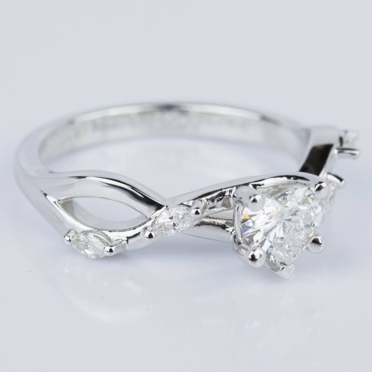 Heart Shape Florida Ivy Engagement Ring in White Gold (0.46 ct.) angle 3