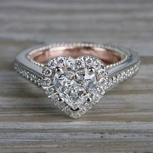 Heavenly Halo Heart Shaped Diamond Ring in White & Rose Gold