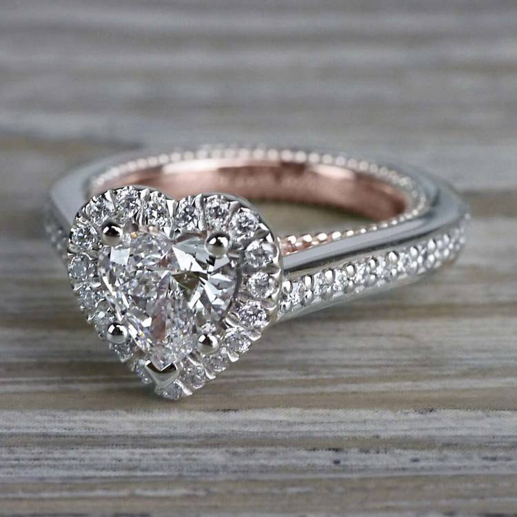 Heavenly Halo Heart Shaped Diamond Ring in White & Rose Gold angle 2