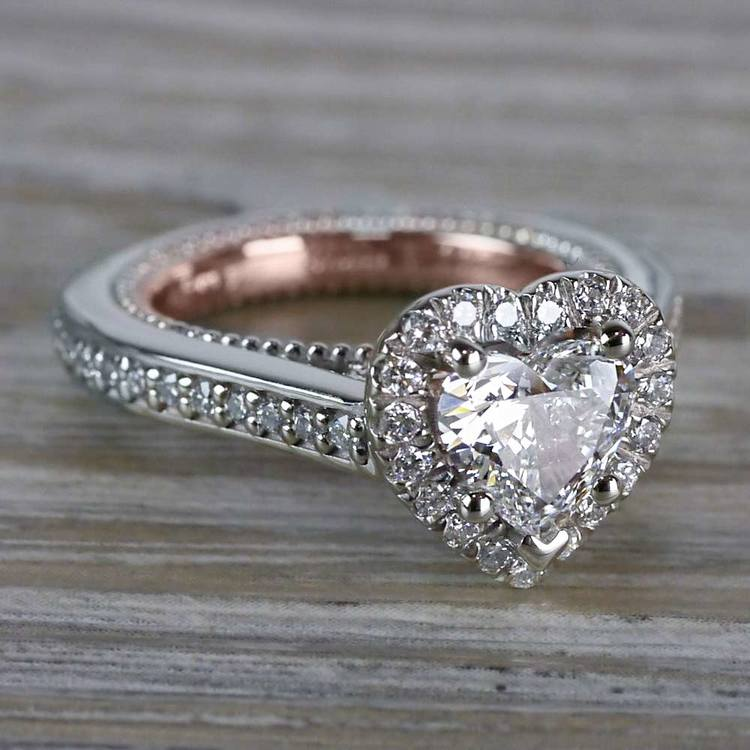 Heavenly Halo Heart Shaped Diamond Ring in White & Rose Gold angle 3
