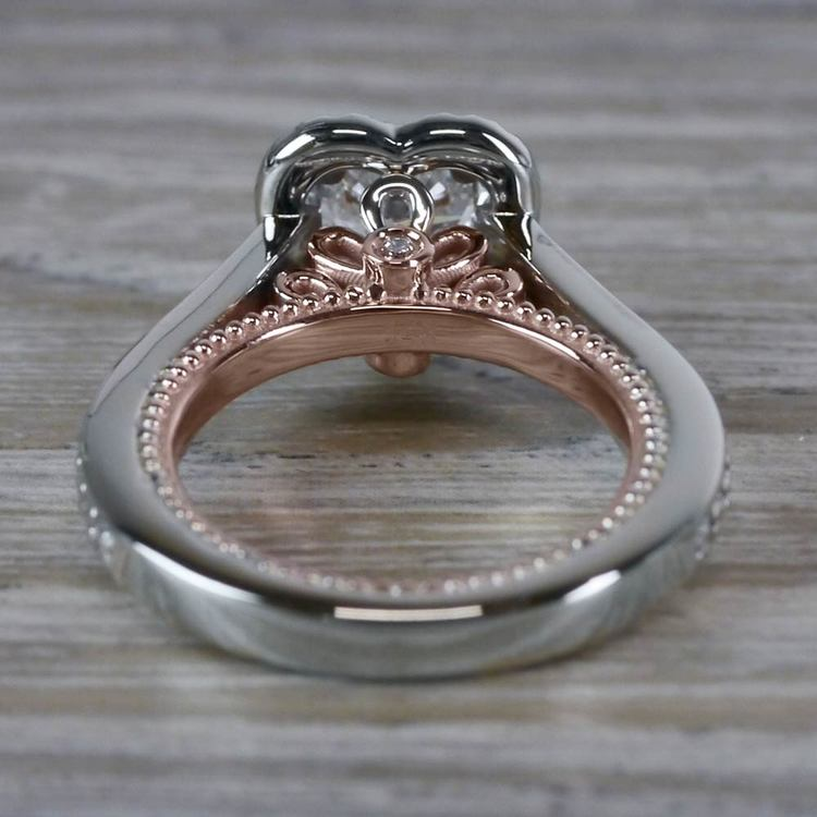 Heavenly Halo Heart Shaped Diamond Ring in White & Rose Gold angle 4