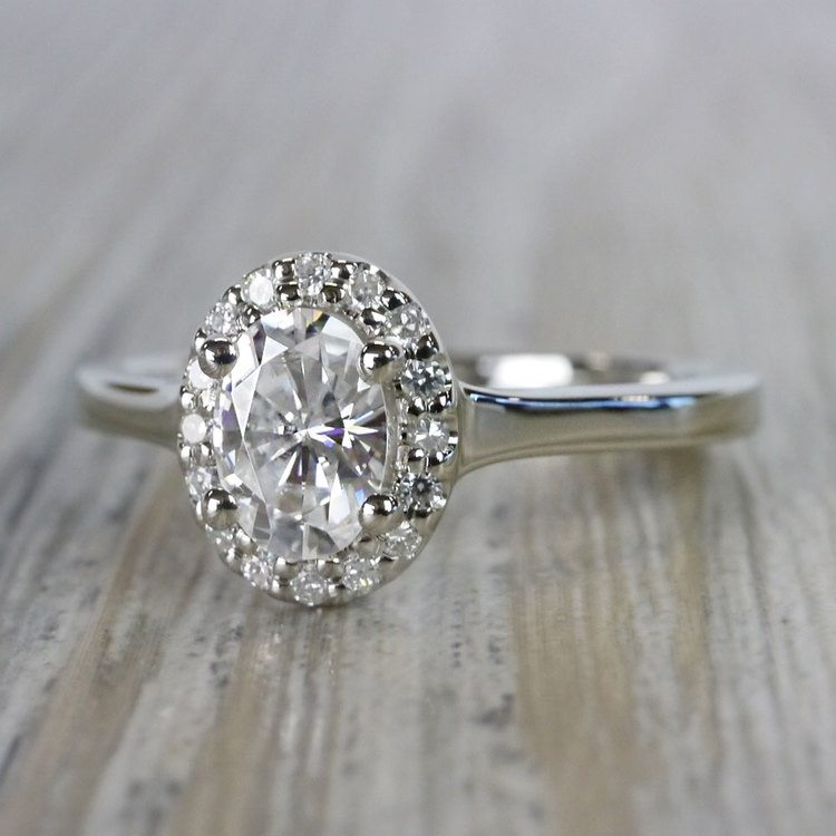 Heavenly Halo Oval Moissanite Engagement Ring angle 2