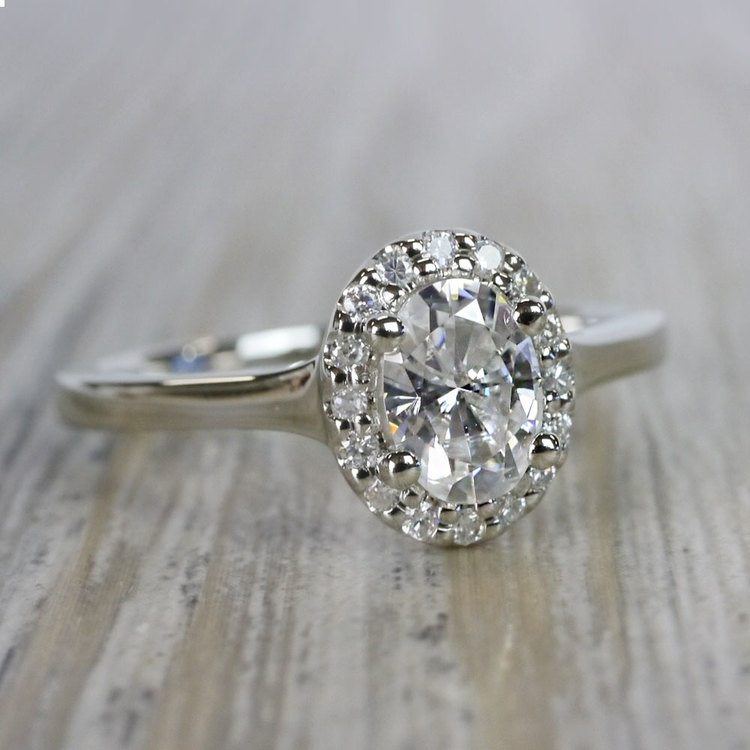 Heavenly Halo Oval Moissanite Engagement Ring angle 3