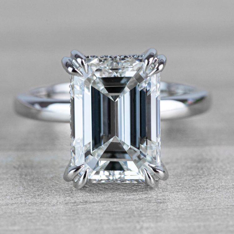 Hidden Halo 5 Carat Emerald Cut Diamond Ring in Platinum