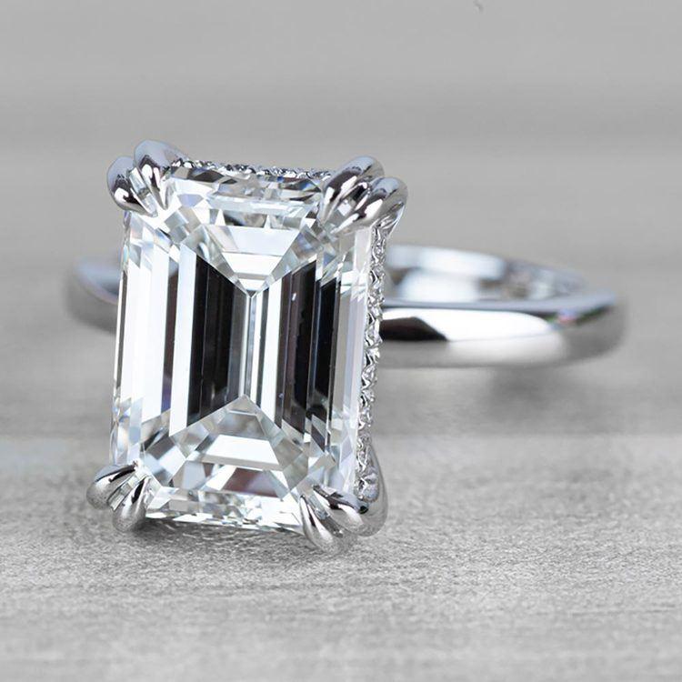 Hidden Halo 5 Carat Emerald Cut Diamond Ring in Platinum angle 2