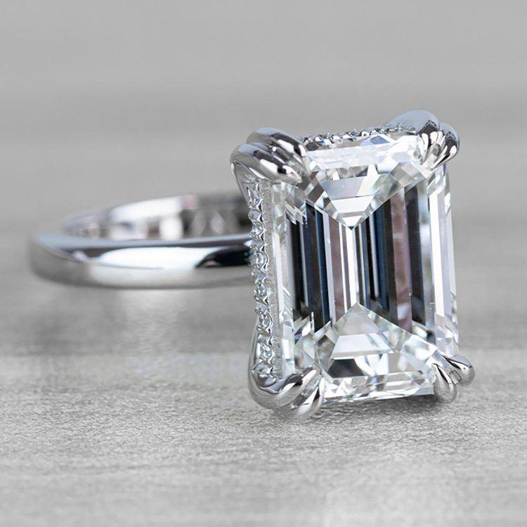 Hidden Halo 5 Carat Emerald Cut Diamond Ring in Platinum angle 3