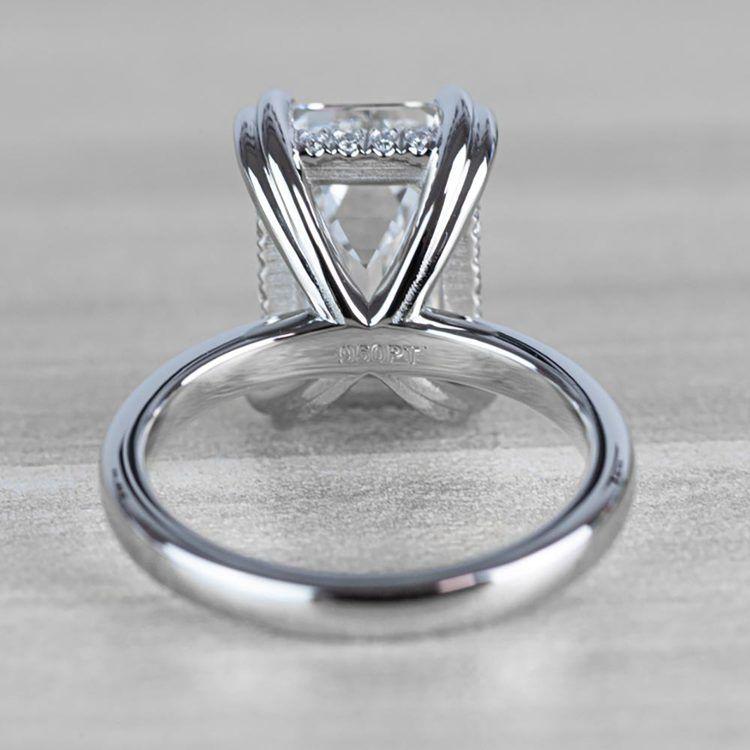 Hidden Halo 5 Carat Emerald Cut Diamond Ring in Platinum angle 4