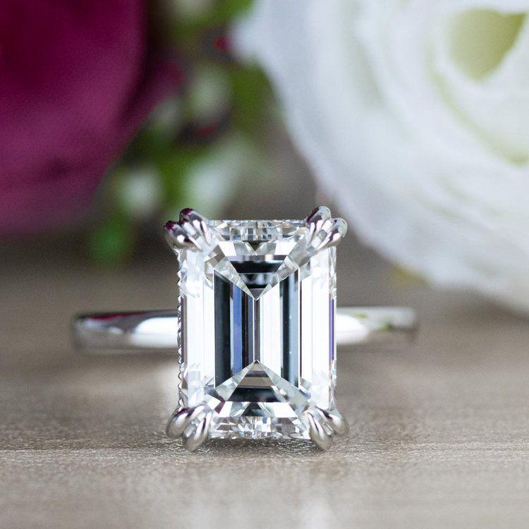 Hidden Halo 5 Carat Emerald Cut Diamond Ring in Platinum angle 5