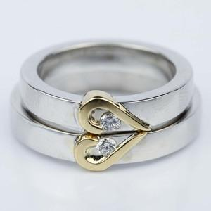 His and Hers Curled Heart Diamond Wedding Ring Set