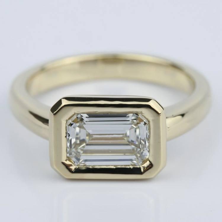 Horizontal Bezel Emerald Diamond Engagement Ring (1.51 ct.)