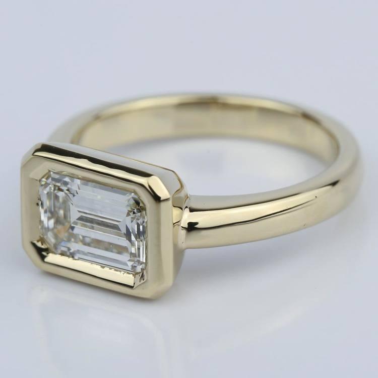 Horizontal Bezel Emerald Diamond Engagement Ring (1.51 ct.) angle 2