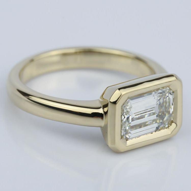 Horizontal Bezel Emerald Diamond Engagement Ring (1.51 ct.) angle 3