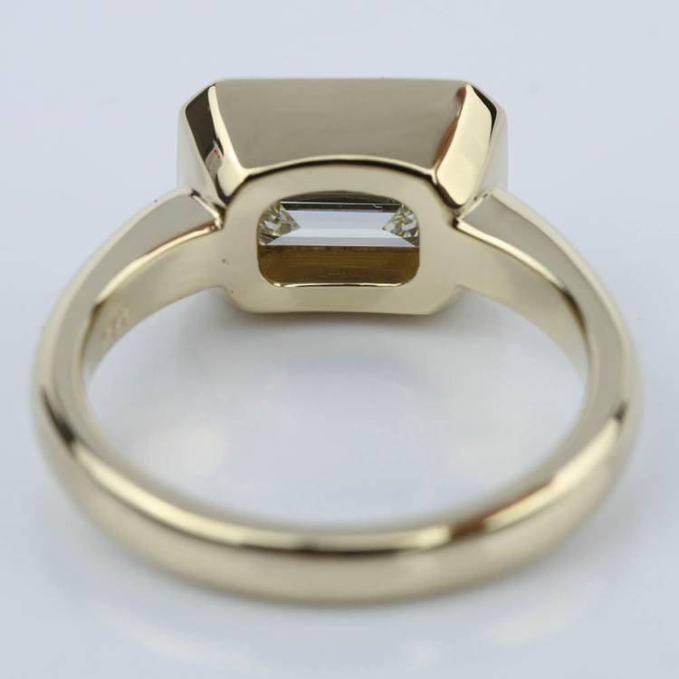 Horizontal Bezel Emerald Diamond Engagement Ring (1.51 ct.) angle 4