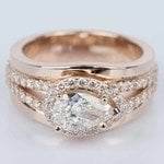 Horizontal-Set Pear Halo Diamond Engagement Ring in Rose Gold - small