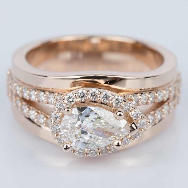 Horizontal-Set Pear Halo Diamond Engagement Ring in Rose Gold