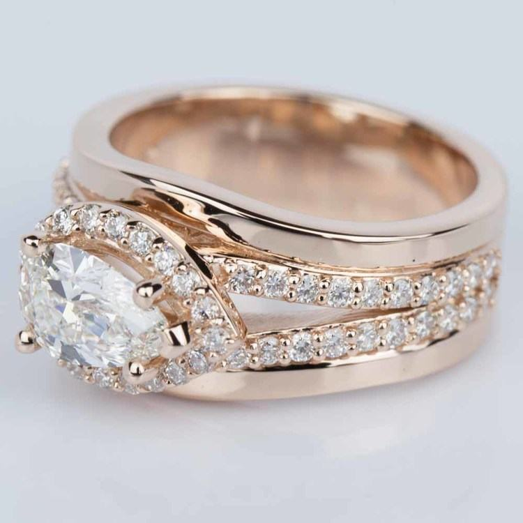 Horizontal-Set Pear Halo Diamond Engagement Ring in Rose Gold angle 2