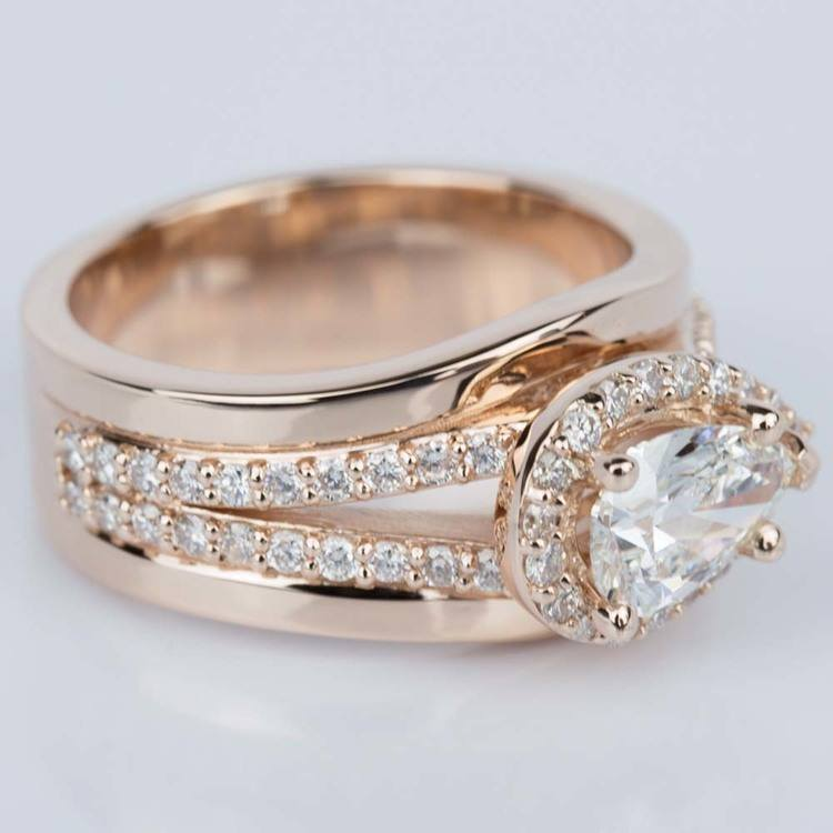 Horizontal-Set Pear Halo Diamond Engagement Ring in Rose Gold angle 3