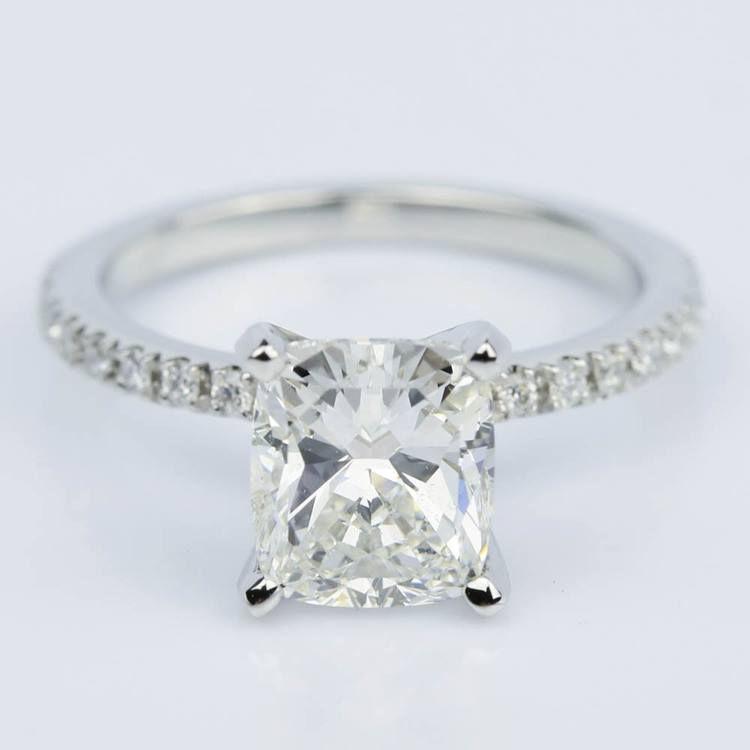 Ideal Cushion-Cut Diamond with Petite Pave Ring Setting (1.78 ct.)