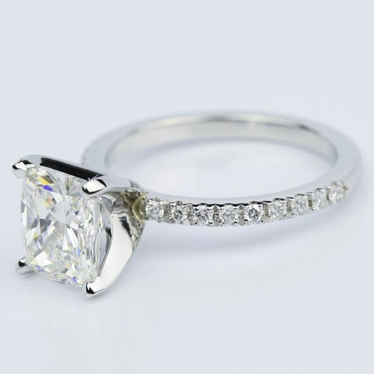 Ideal Cushion-Cut Diamond with Petite Pave Ring Setting (1.78 ct.) angle 2