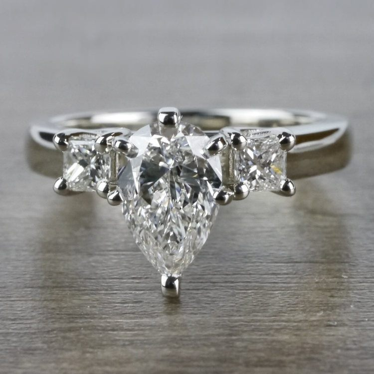 Pear Shaped Diamond Ring With Side Stones In White Gold