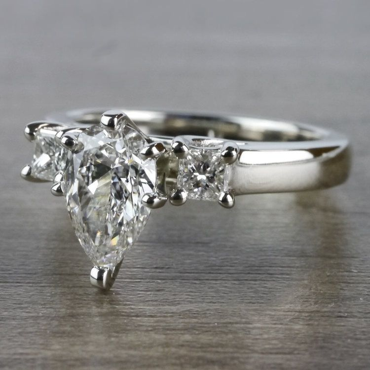 Pear Shaped Diamond Ring With Side Stones In White Gold angle 2