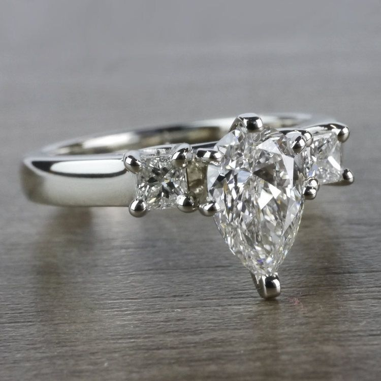 Pear Shaped Diamond Ring With Side Stones In White Gold angle 3