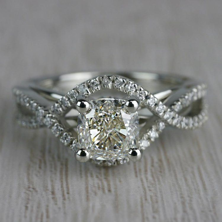 Infinite Carat Cushion Cut Diamond Split Shank Engagement Ring
