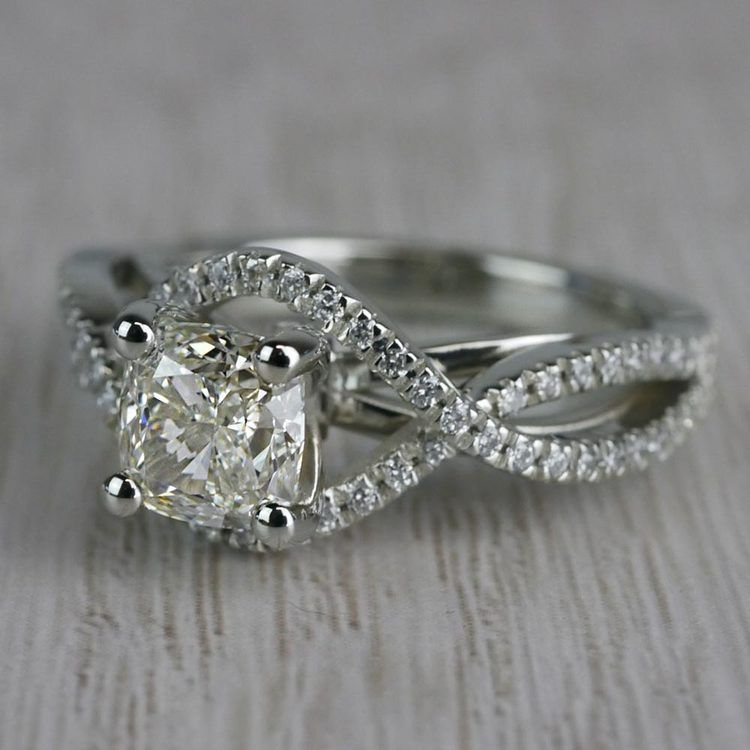 Infinite Carat Cushion Cut Diamond Split Shank Engagement Ring angle 2
