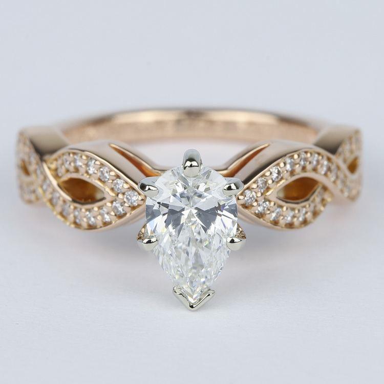Infinity Twist Pear Cut Diamond Engagement Ring