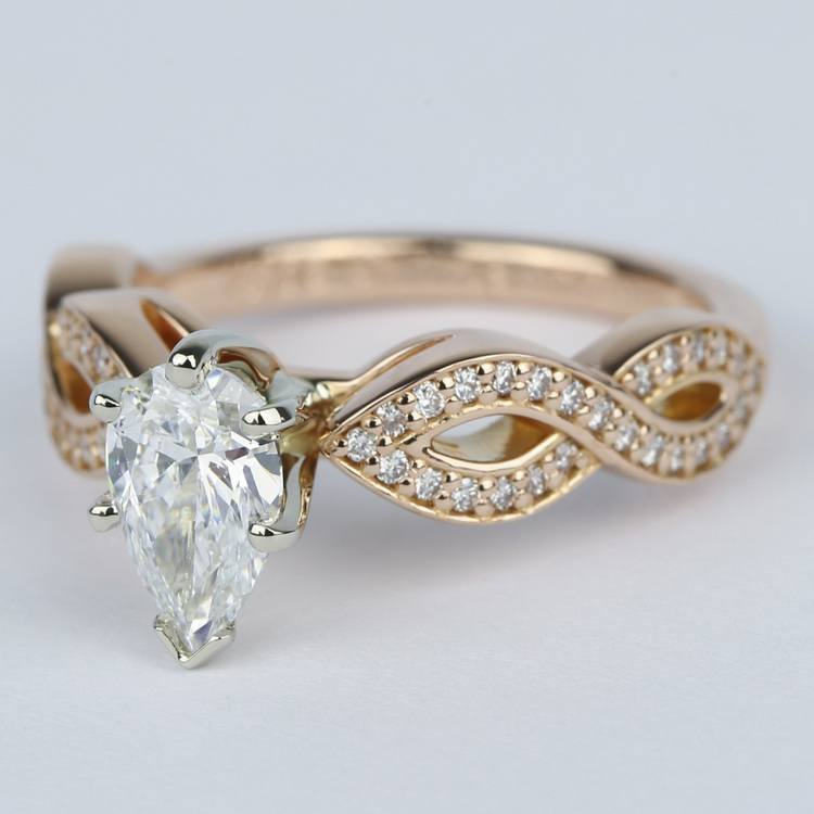 Infinity Twist Pear Cut Diamond Engagement Ring angle 2
