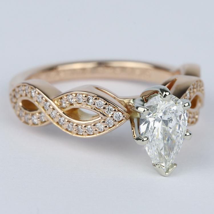 Infinity Twist Pear Cut Diamond Engagement Ring angle 3