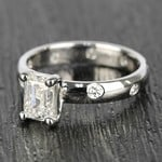 Inset Engagement Ring with Emerald Cut Diamond - small angle 2