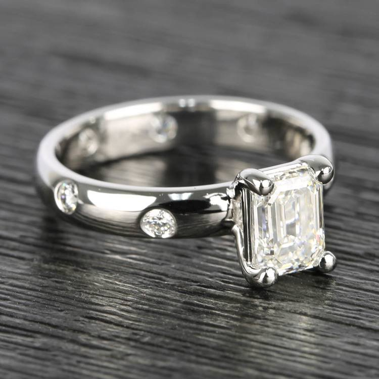Inset Engagement Ring with Emerald Cut Diamond angle 3