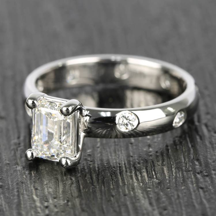 Inset Engagement Ring with Emerald Cut Diamond angle 2