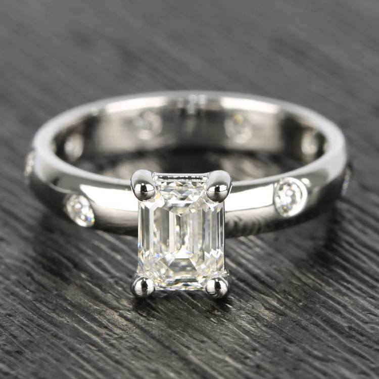 Inset Engagement Ring with Emerald Cut Diamond