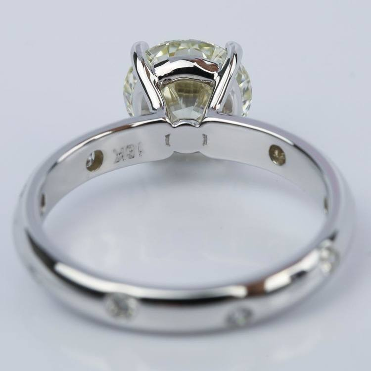 Inset Diamond Engagement Ring in White Gold with Round 1.93 Carat angle 4