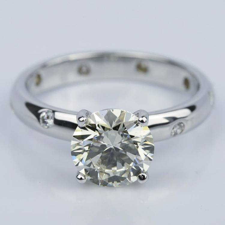 Inset Diamond Engagement Ring in White Gold with Round 1.93 Carat