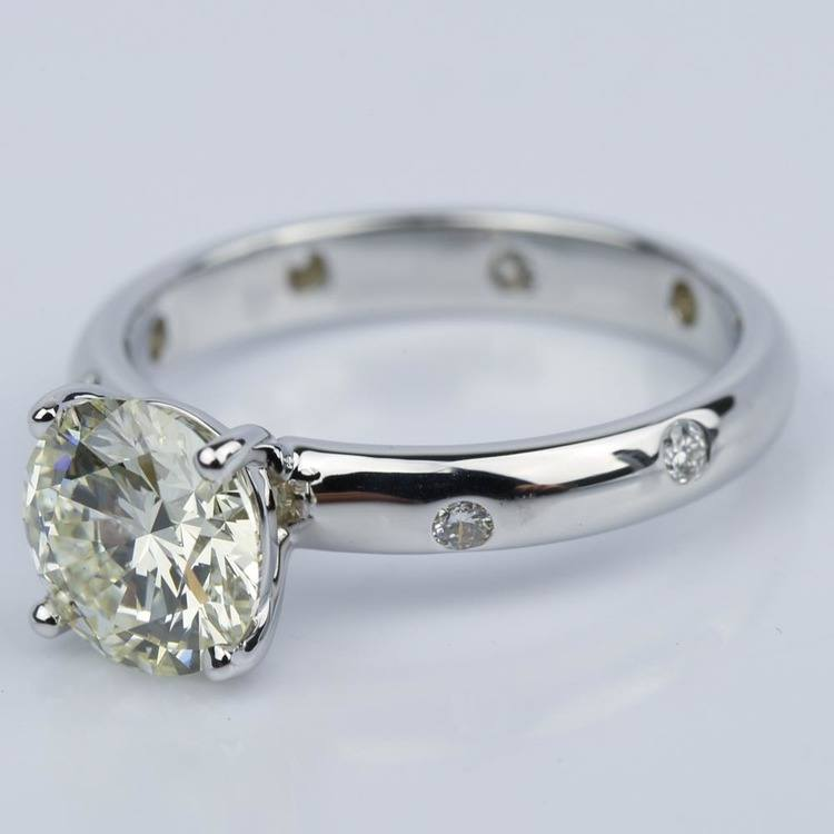 Inset Diamond Engagement Ring in White Gold with Round 1.93 Carat angle 2