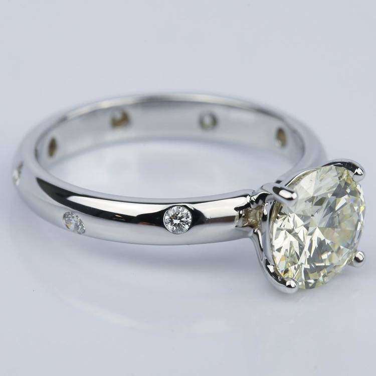 Inset Diamond Engagement Ring in White Gold with Round 1.93 Carat angle 3