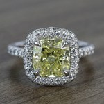 3 Carat Intense Fancy Yellow Cushion Halo Diamond Engagement Ring - small