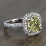 3 Carat Intense Fancy Yellow Cushion Halo Diamond Engagement Ring - small angle 3