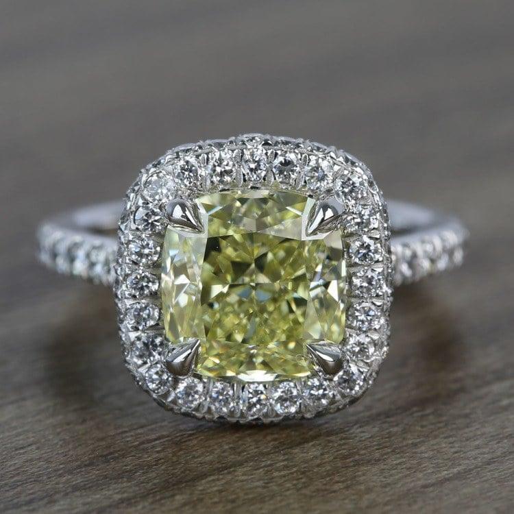 3 Carat Intense Fancy Yellow Cushion Halo Diamond Engagement Ring
