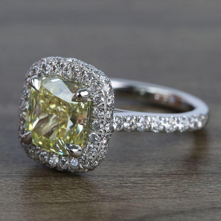 3 Carat Intense Fancy Yellow Cushion Halo Diamond Engagement Ring angle 2