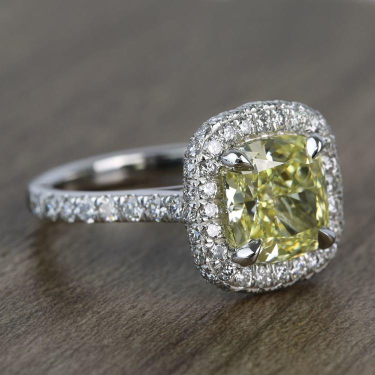 3 Carat Intense Fancy Yellow Cushion Halo Diamond Engagement Ring angle 3