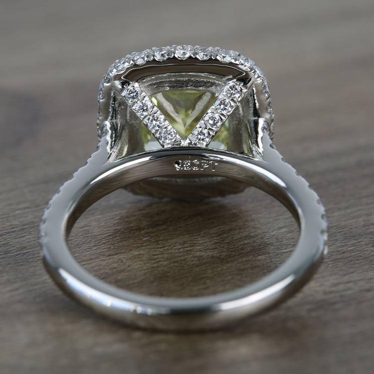 3 Carat Intense Fancy Yellow Cushion Halo Diamond Engagement Ring angle 4