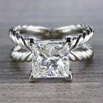 3 Carat Princess Cut Diamond Ring - Split Shank Design - small