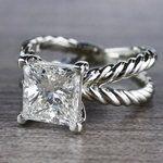 3 Carat Princess Cut Diamond Ring - Split Shank Design - small angle 2